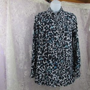 Talbots Animal Print Roll Tab Button Front Shirt S